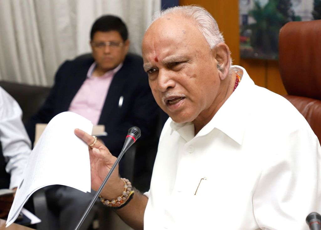 Bengaluru: Karnataka Chief Minister B.S. Yediyurappa addresses a press conference in Bengaluru on Aug 10, 2019. (Photo: IANS) - B.