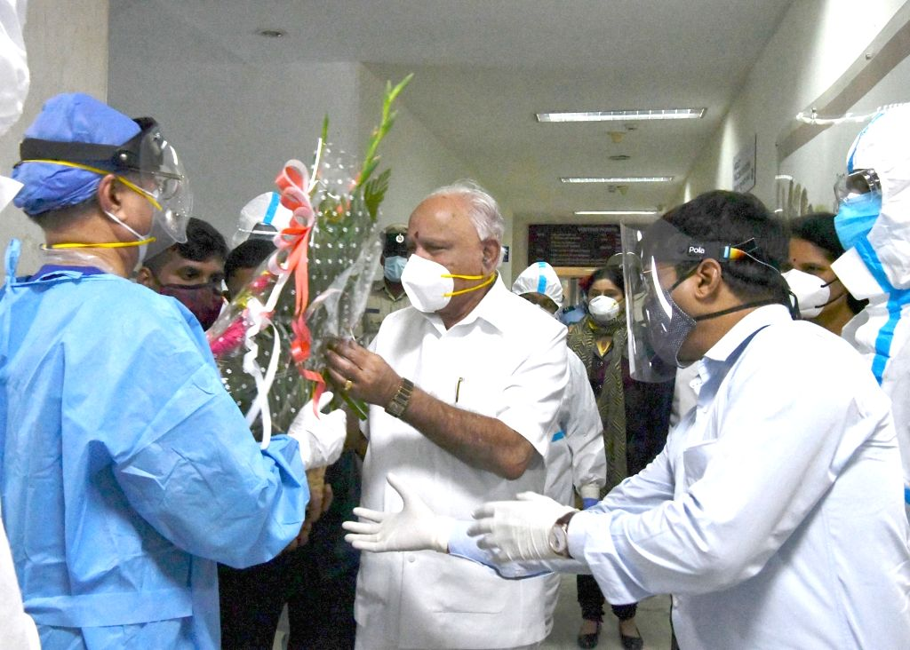 Bengaluru: Karnataka Chief Minister B.S. Yediyurappa after being discharged from the hospital post undergoing treatment for Covid-19, in Bengaluru on Aug 10, 2020. The Chief Minister said that he will be under self-quarantine. Yediyurappa also thanke - B.