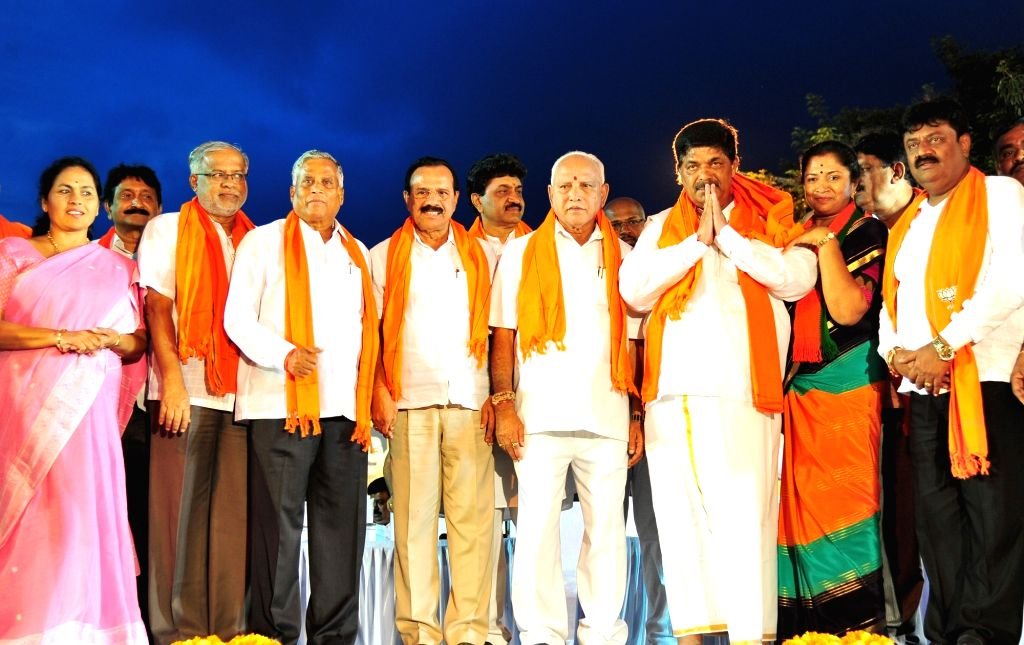 Bengaluru: Karnataka Chief Minister B. S. Yediyurappa campaigns for Gopalaiah - party's candidate from Mahalakshmi Layout constituency in Bengaluru on Nov 30, 2019. (Photo: IANS) - B. S. Yediyurappa