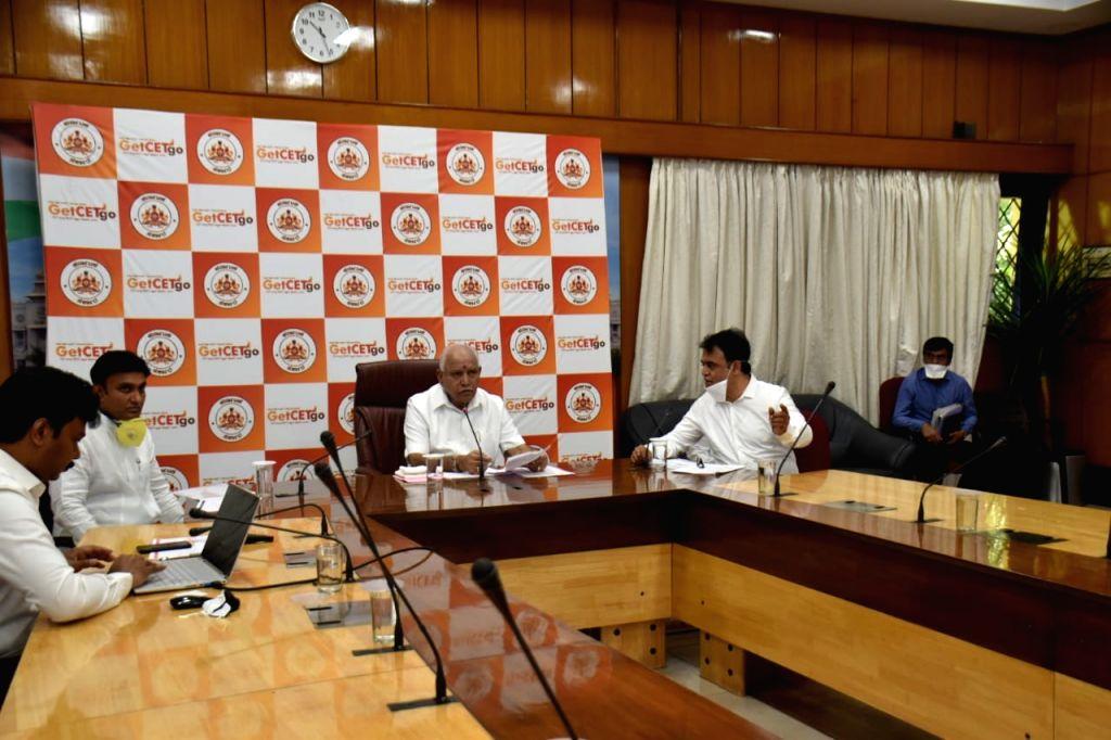 Bengaluru: Karnataka Chief Minister B. S. Yediyurappa launched a free entrance examination coaching portal, GetCETGo, to equip students for admissions amid Covid lockdown, in Bengaluru on Apr 20, 2020. (Photo: IANS) - B. S. Yediyurappa