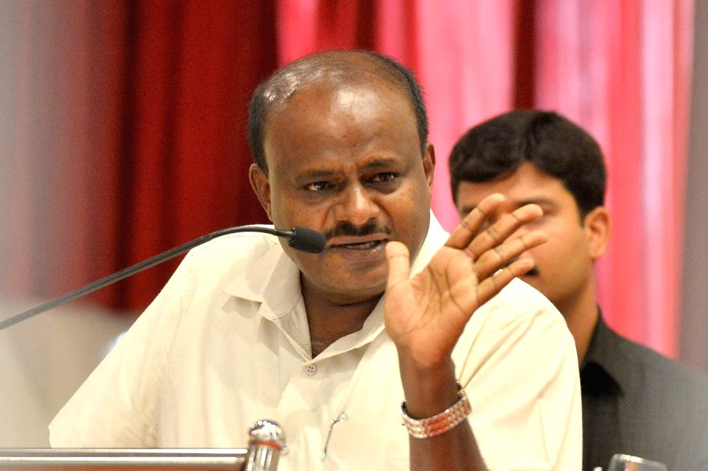 Bengaluru: Karnataka Chief Minister H. D. Kumaraswamy addresses during a JD-S programme in Bengaluru on June 7, 2019. (Photo: IANS) - H. D. Kumaraswamy
