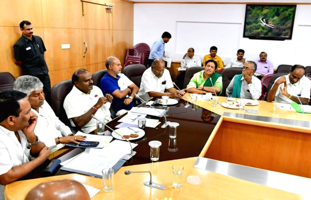 Bengaluru: Karnataka Chief Minister H D Kumaraswamy during a meeting with farmers in Bengaluru on July 8, 2019. (Photo: IANS) - H D Kumaraswamy