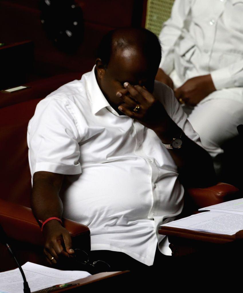 Bengaluru: Karnataka Chief Minister H.D. Kumaraswamy during state assembly session at Vidhan Soudha in Bengaluru on July 12, 2019. (Photo: IANS) - H.