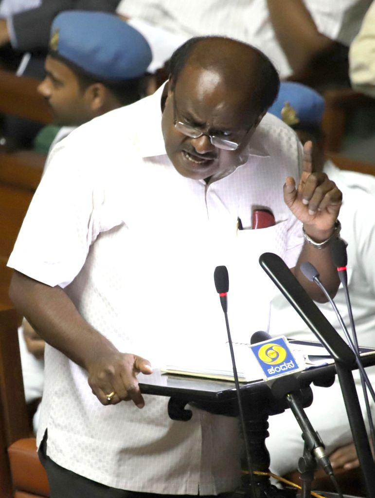 Bengaluru: Karnataka Chief Minister H. D. Kumaraswamy presents the state budget 2019-20 in the state assembly, in Bengaluru on Feb 8, 2019. (Photo: IANS) - H. D. Kumaraswamy