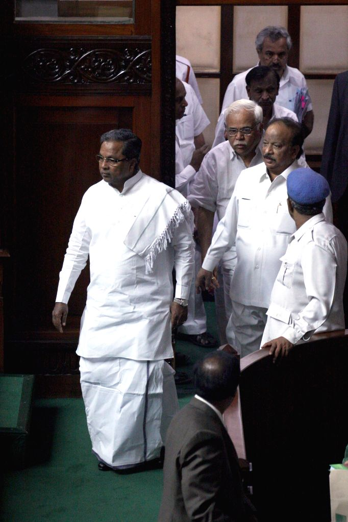 Karnataka Chief Minister Siddaramaiah during a joint Karnataka Legislative Assembly at Vidhan Soudha, in Bengaluru on Feb. 4, 2015. - Siddaramaiah