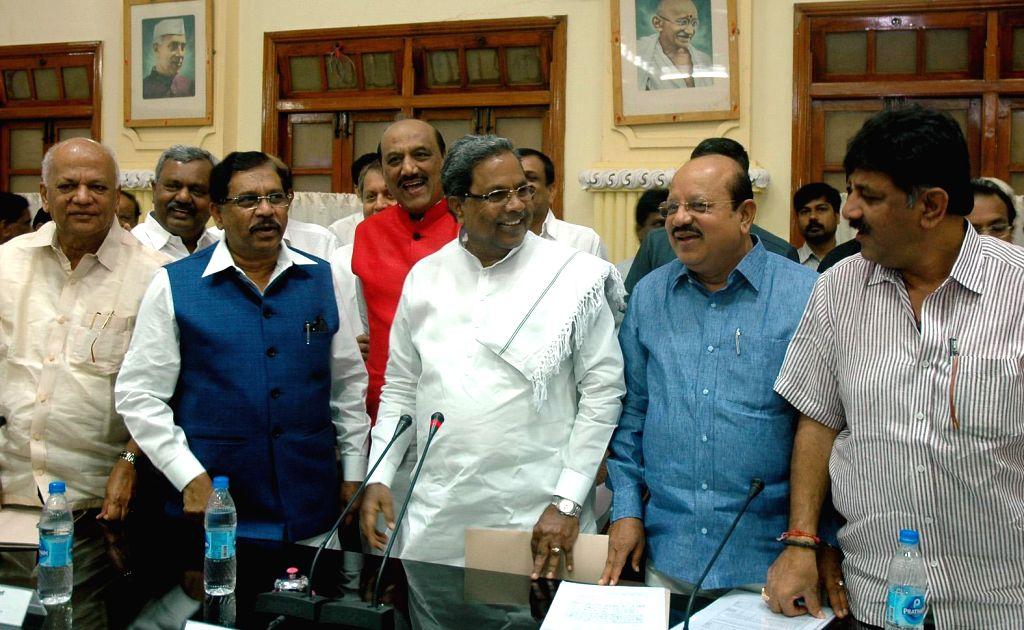 Karnataka Chief Minister Siddaramaiah during a meeting with legislators at Vidhana Soudha, in Bengaluru on Feb. 4, 2015. - Siddaramaiah