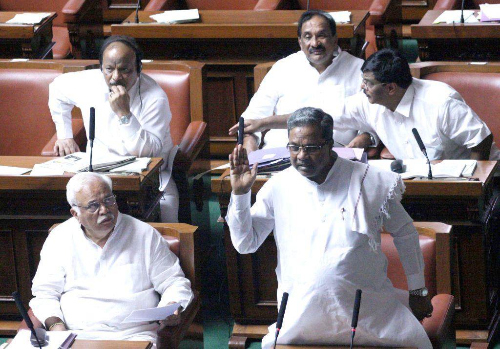 Karnataka Chief Minister Siddaramaiah during Karnataka Assembly Session at Vidhan Soudha, in Bengaluru, on Feb 9, 2015. - Siddaramaiah