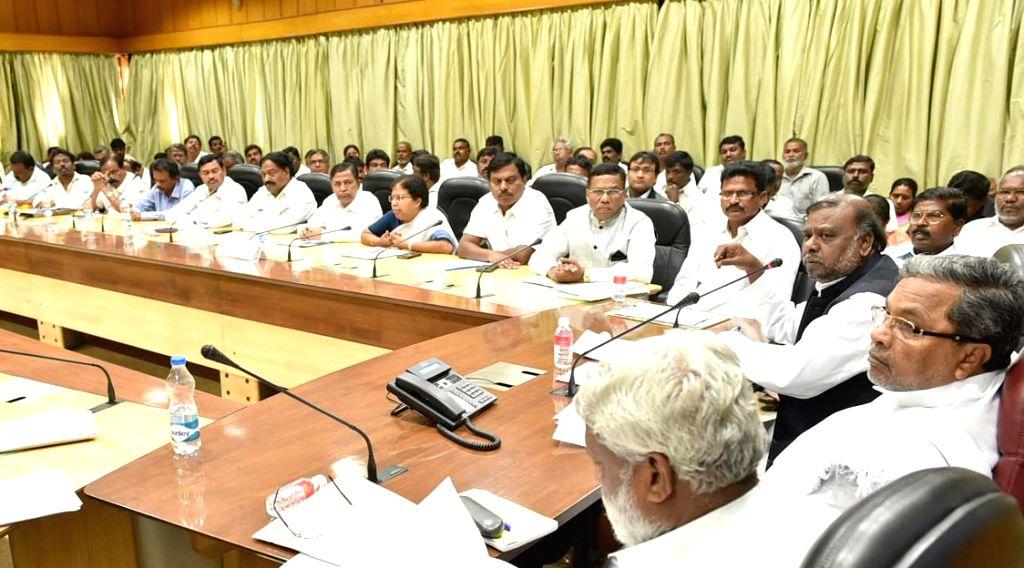 Karnataka Chief Minister Siddaramaiah during a meeting with dalit leaders in Bengaluru on March 4, 2015. - Siddaramaiah