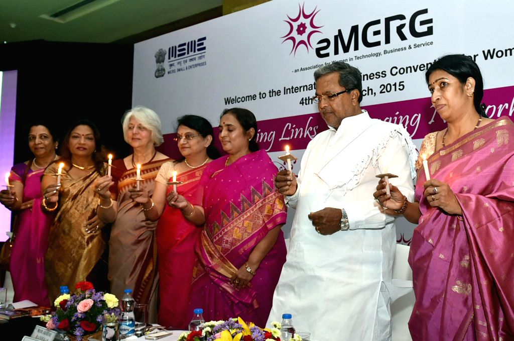 Karnataka Chief Minister Siddaramaiah at the inauguration of `International Business Convention for Women` in Bengaluru, on March 4, 2015. - Siddaramaiah