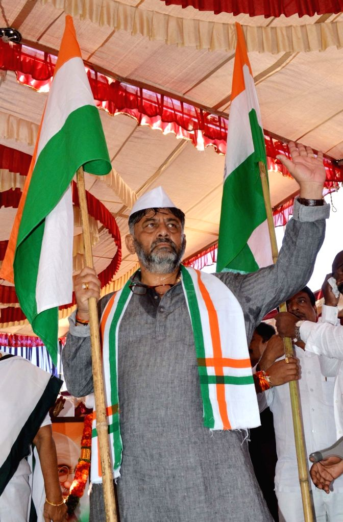 Bengaluru: Karnataka Congress leader D. K. Shivakumar during the party's 135th Foundation Day celebrations at the state party Headquarters in Bengaluru on Dec 28, 2019. (Photo: IANS)