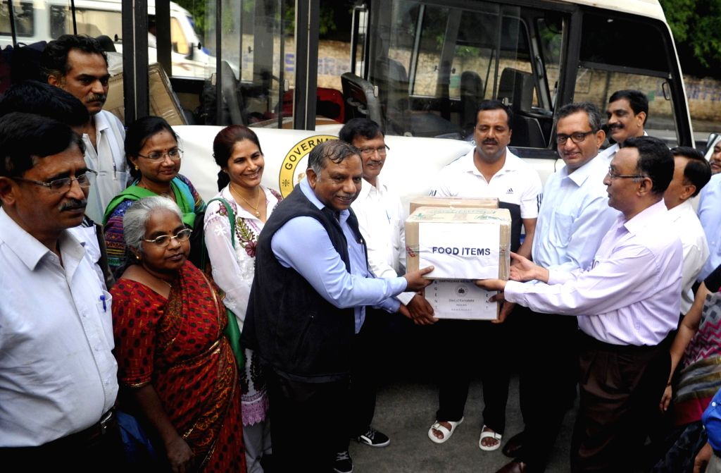 Karnataka Minister UT Khader flags-off a medical team for earthquake hit Nepal from Bengaluru on April 27, 2015.