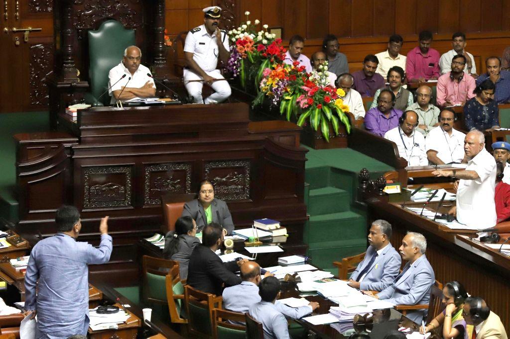 Bengaluru: Karnataka Speaker KR Ramesh Kumar in the state assembly where Chief Minister HD Kumaraswamy moved motion of confidence in Bengaluru on July 18, 2019. (Photo: IANS) - Ramesh Kumar