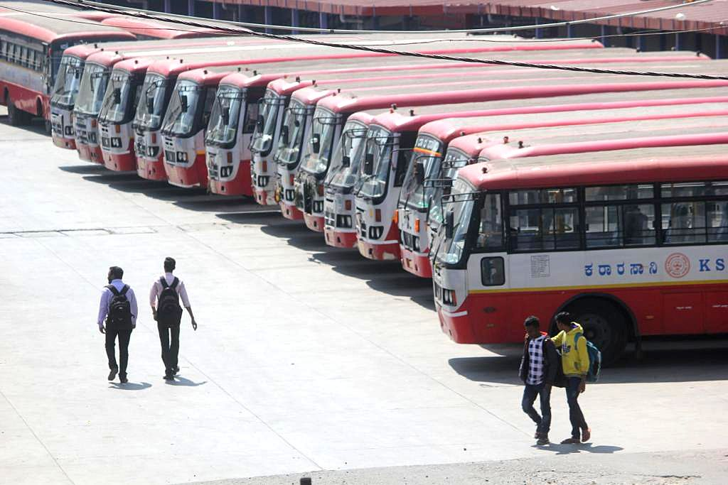 "Bengaluru: Karnataka State Road Transport Corporation (KRCTC) buses remain parked at the Mysuru Road Satellite bus stand on the first day of the two-day long nationwide strike called by central trade unions (CTUs) to protest against ""anti-labour, ant - Narendra Modi"