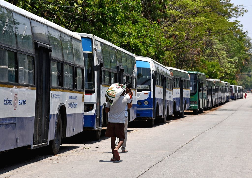 Bengaluru: Karnataka State Road Transport Corporation (KSRTC) Buses remain parked at Shanti Nagar Bus depot during the 21-day nationwide lockdown (that entered the 19th day) imposed as a precautionary measure to contain the spread of coronavirus, in