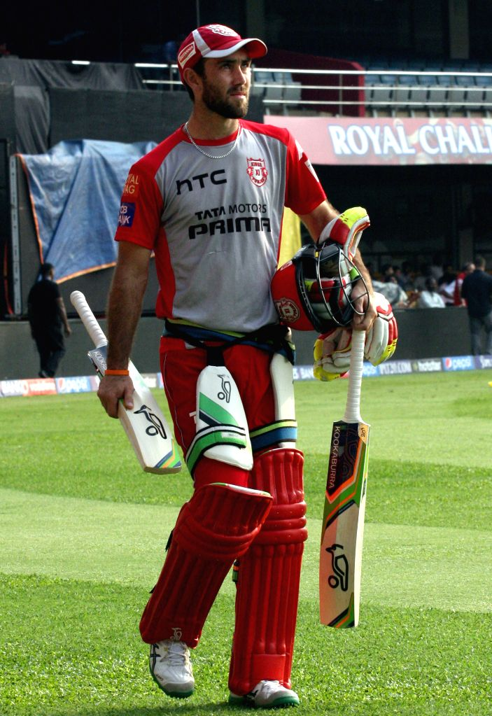 Kings XI Punjab player Glenn Maxwell during a practice session at M Chinnaswamy Stadium, in Bengaluru, on May 5, 2015.