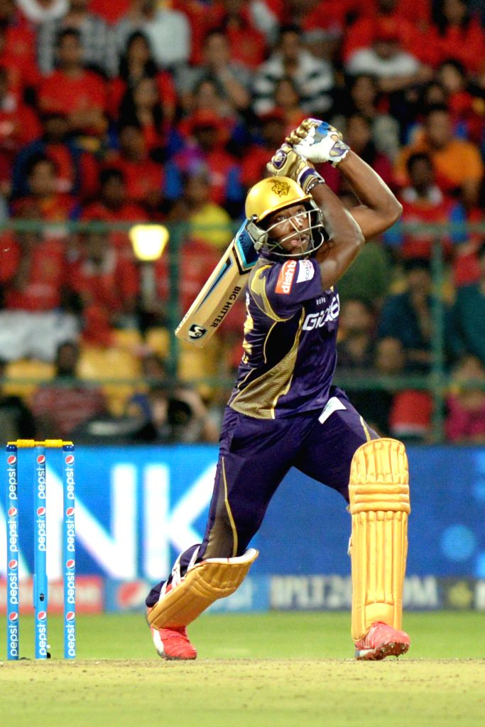 Kolkata Knight Riders batsman Andre Russell in action during an IPL-2015 match between Royal Challengers Bangalore and Kolkata Knight Riders at M Chinnaswamy Stadium in Bangaluru on May 2, ... - Andre Russell