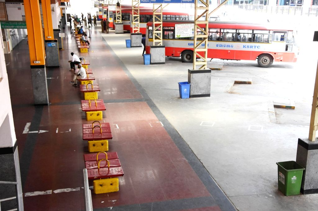 Bengaluru : KSRTC bus stands deserted look,  after the Karnataka government eased restrictions for travel amid ongoing Coronavirus lockdown, in Bengaluru on Friday, June 25, 2021