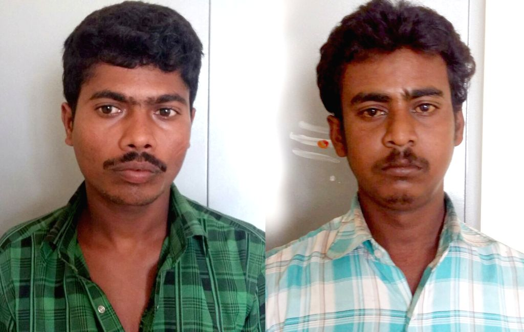 :Bengaluru: (L to R) Ravi (Green Shirt) and Manjunath accused in the rape of a 19 year old nursing student in a moving private bus in Bengaluru rural district in Sulibele, Hoskote. (File Photo: ...