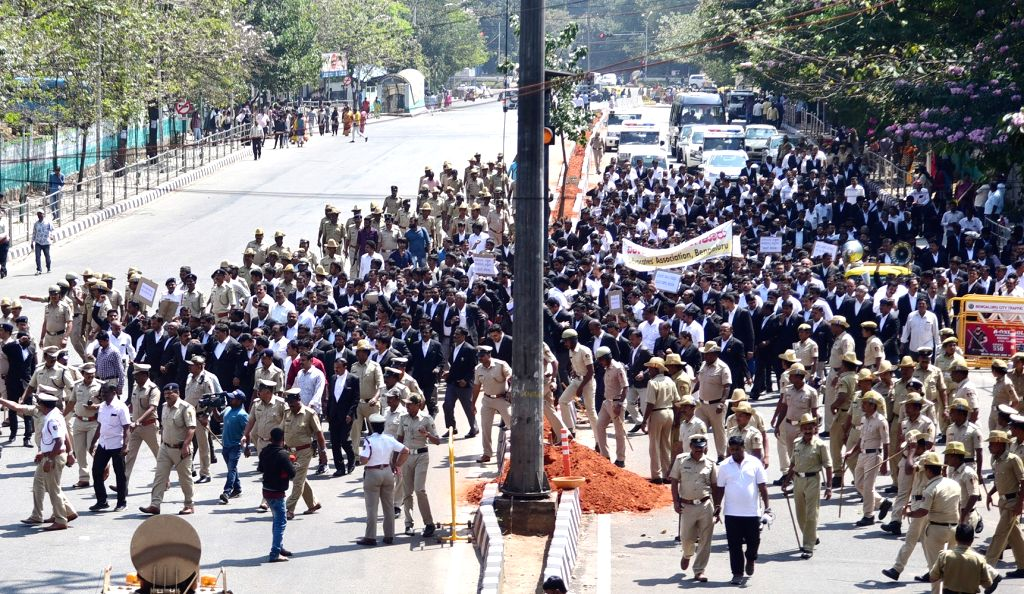 Bengaluru: Lawyers participate in a march to press for their various demands in Bengaluru, on  Feb 12, 2019. (Photo: IANS)