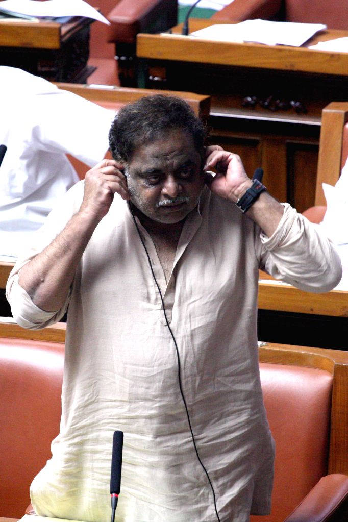 Legislator Ambareesh during a joint Karnataka Legislative Assembly at Vidhan Soudha, in Bengaluru on Feb. 4, 2015.