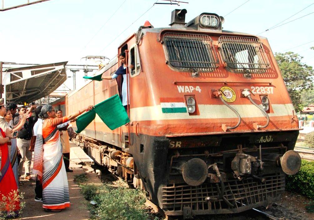 Bengaluru: Marking the International Women's Day, an all-women crew of the Indian Railways ran the Sanghamitra Express train between Bengaluru and Chennai, in Bengaluru on March 8, 2019. (Photo: IANS)