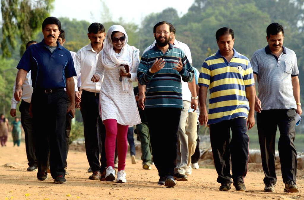 Minister of State for Environment, Forest and Climate Change (Independent Charge) Prakash Javadekar during his morning walk at the Sankey Tank, Malleswaram, in Bengaluru, on April 4, 2015.