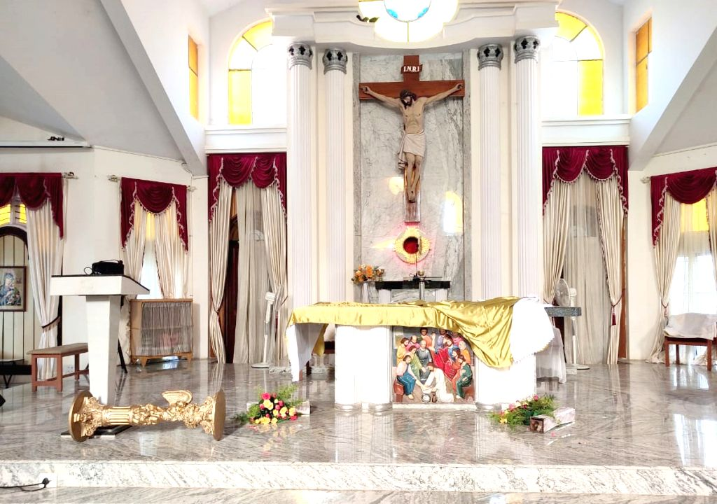 Bengaluru: Miscreant desecrated sanctum and threw away Holy Communion at Kengeri's St Francis of Assisi Church in Bengaluru on Jan 21, 2020. (Photo: IANS)