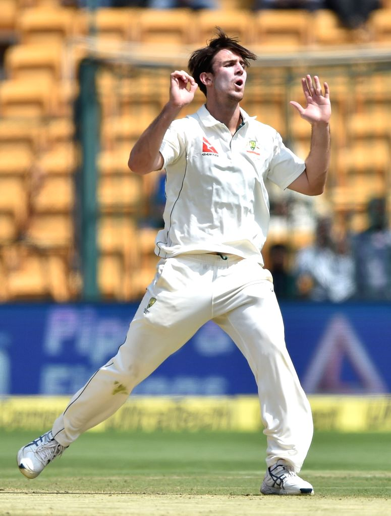Bengaluru: Mitchell Marsh of Australia in action during day one of the second test match between India and Australia at M Chinnaswamy Stadium in Bengaluru on March 4, 2017. (Photo: IANS)