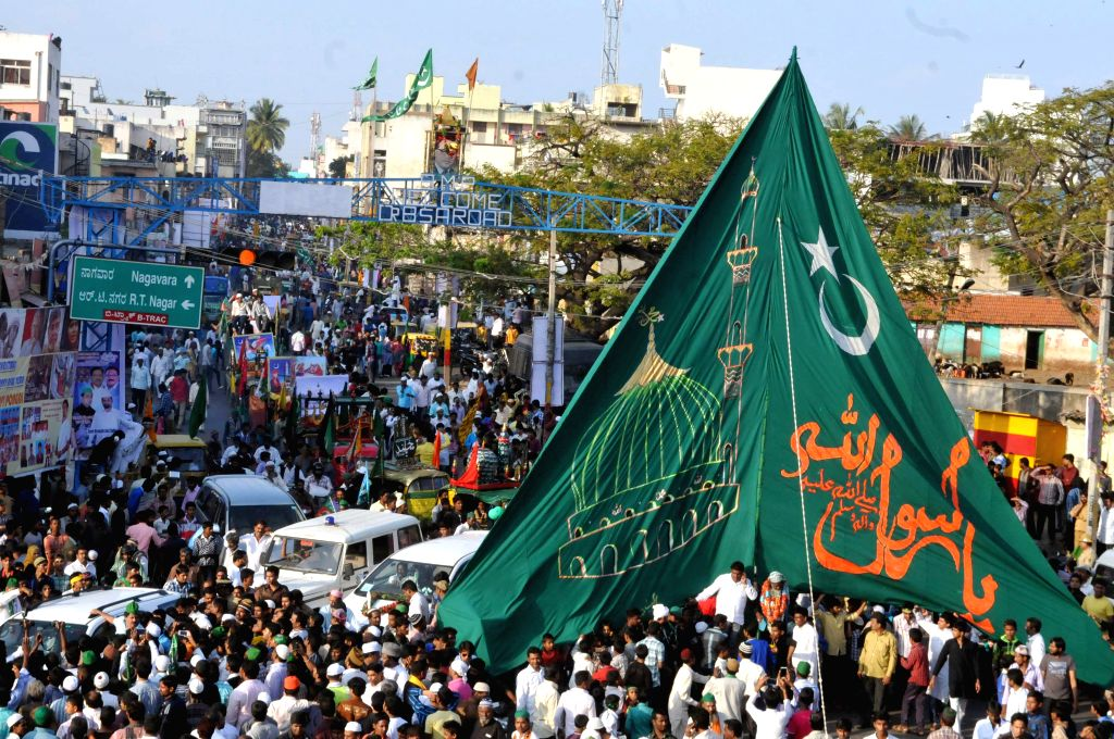 Muslims participate in a procession organised on  Eid Milad-un-Nabi - Prophet Mohammad's birthday in Bengaluru, on Jan 4, 2015.