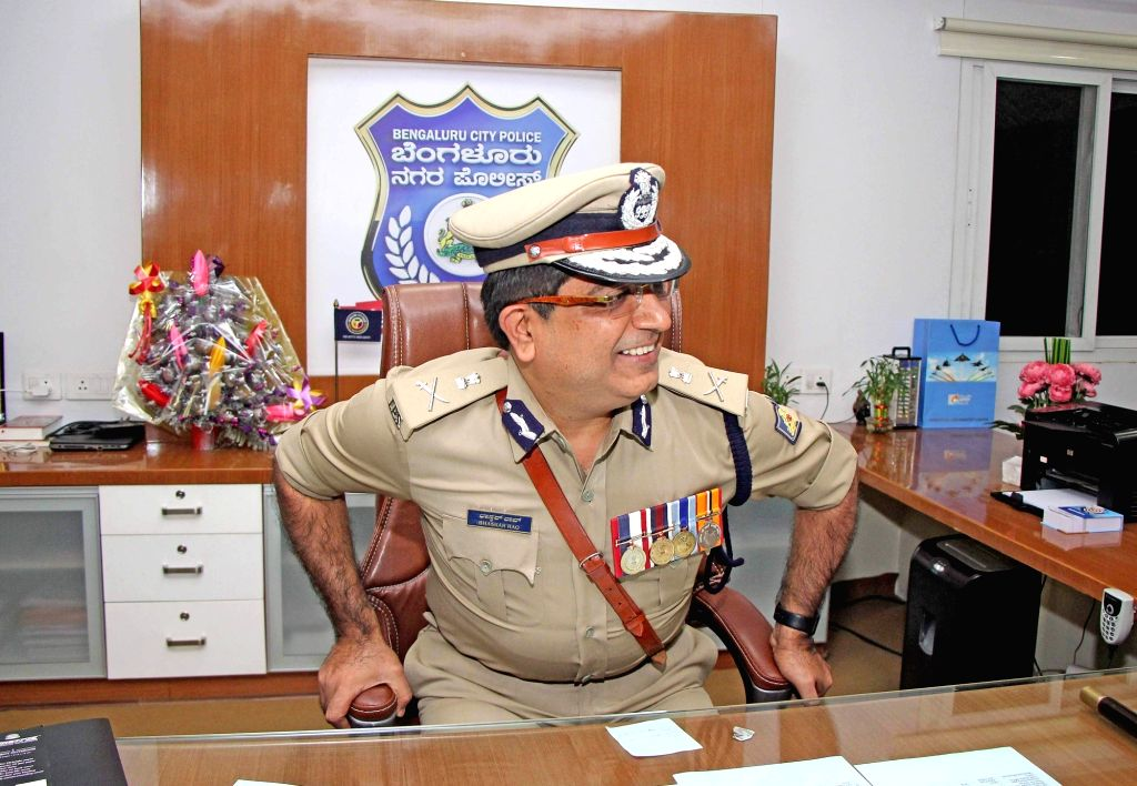 Bengaluru: Newly appointed Bengaluru City Police Commissioner Bhaskar Rao takes charge at Police Commissioner's office, in Bengaluru on Aug 2, 2019. (Photo: IANS)