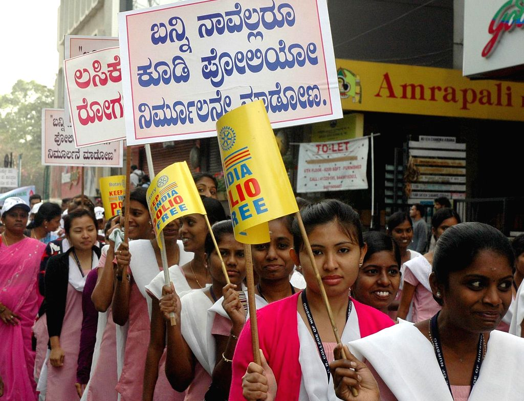 Nursing students participate in a  Polio Awareness rally in Bengaluru, on Jan 16, 2015.
