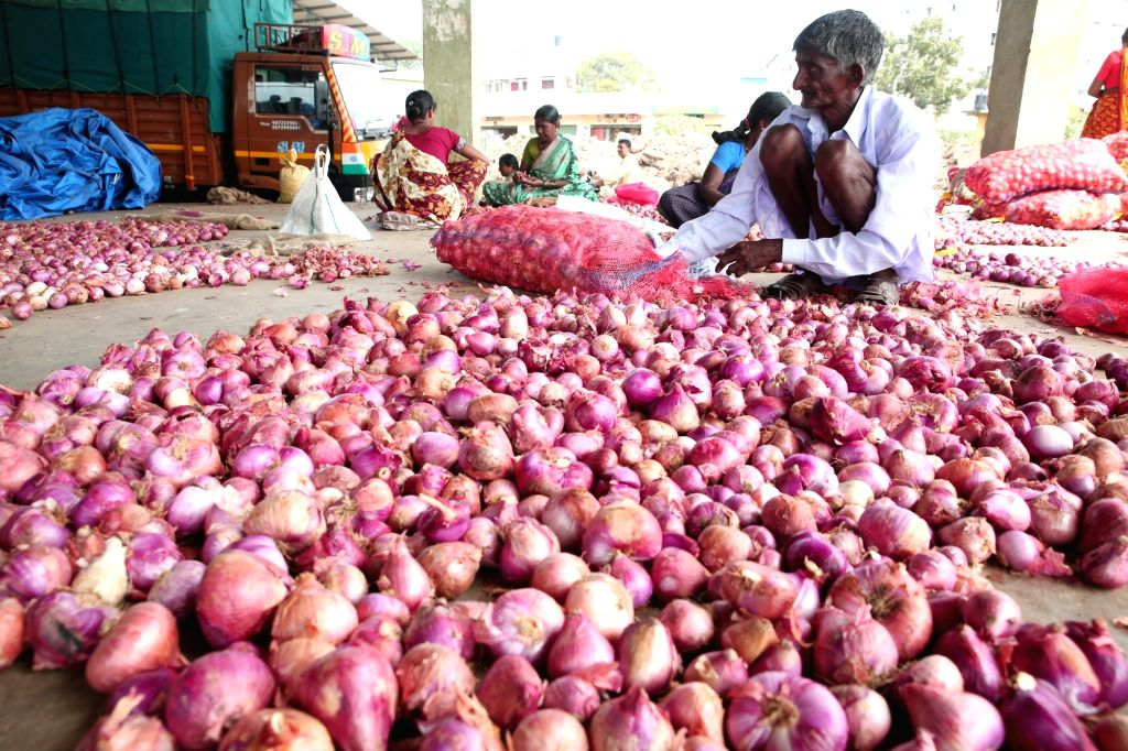 Bengaluru: Onion stock at Agricultural Produce Market Committee (APMC), Yeswanthpur. Onion prices have shot up in most retail markets, in Bengaluru; on Nov 29, 2019. (Photo: IANS)
