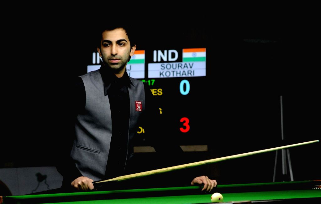 Bengaluru: Pankaj Advani of India ​during BSF World Billiards Championship in 500 long-up format, in Bengaluru on Dec 7, 2016. (Photo: IANS) - Pankaj Advani