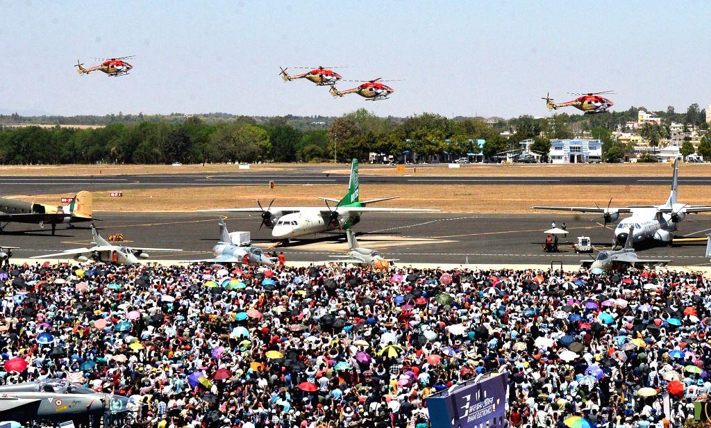 "Bengaluru: People at Yelahanka Air Force Station during the ""Aero India 2019"" - air show, in Bengaluru, on Feb 24, 2019. (Photo: IANS)"