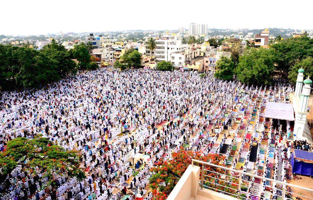 Bengaluru: People offer namaz on Eid-ul-Fitr, in Bengaluru, on June 5, 2019. (Photo: IANS)