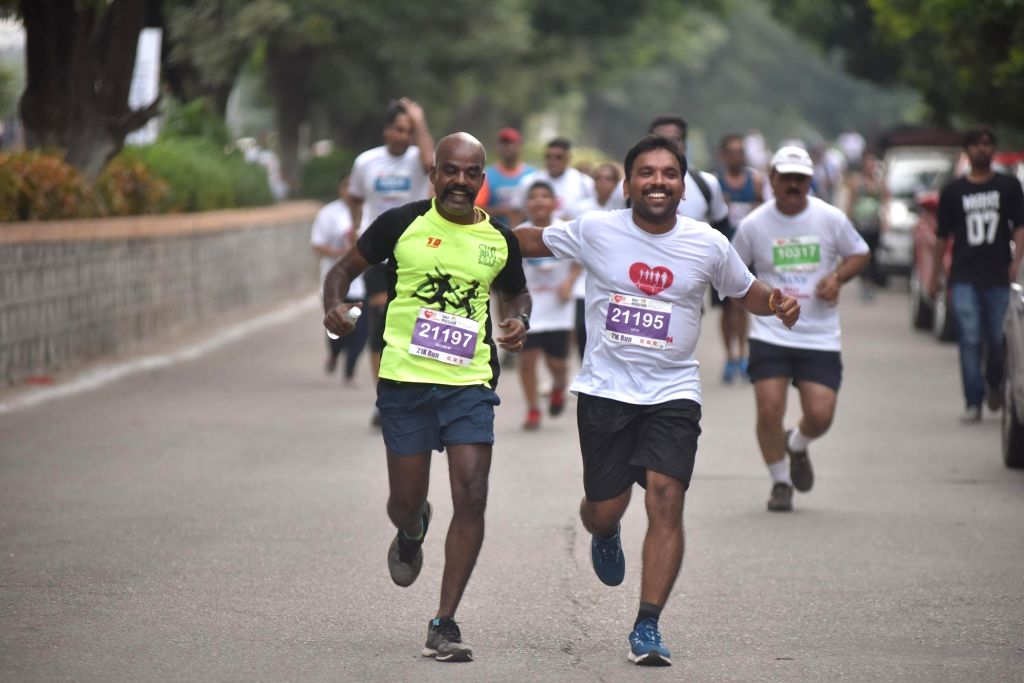 Bengaluru: People participate in a 5K run on the occasion of World Heart Day, in Bengaluru, on 29 Sep, 2019. (Photo: IANS)