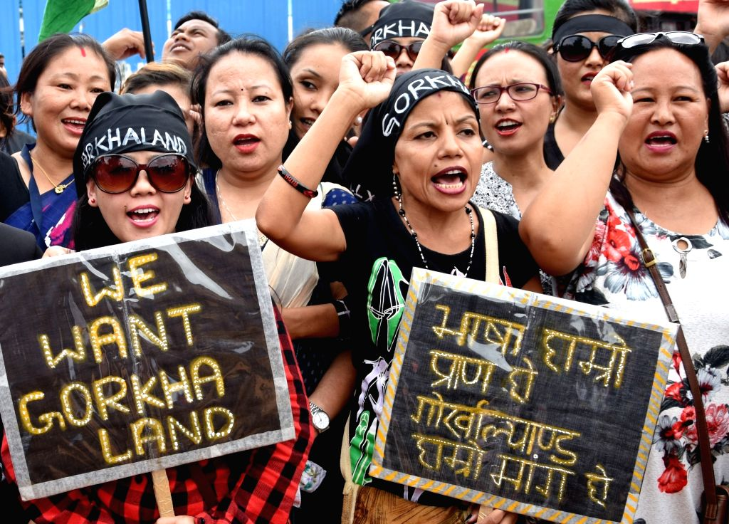 Bengaluru : People participate in a demonstration to press for formation of separate state of Gorkhaland at Freedom Park in Bengaluru on June 28, 2017.