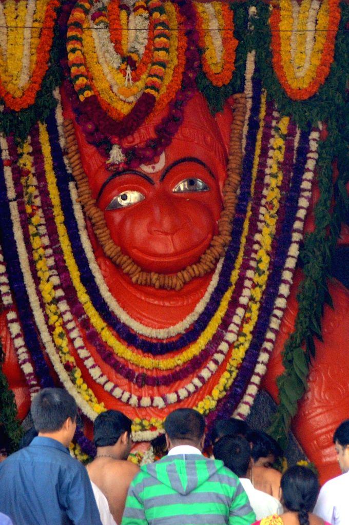 People performs pooja on Hanuman Jayanti, in Bengaluru, on Dec 4, 2014.
