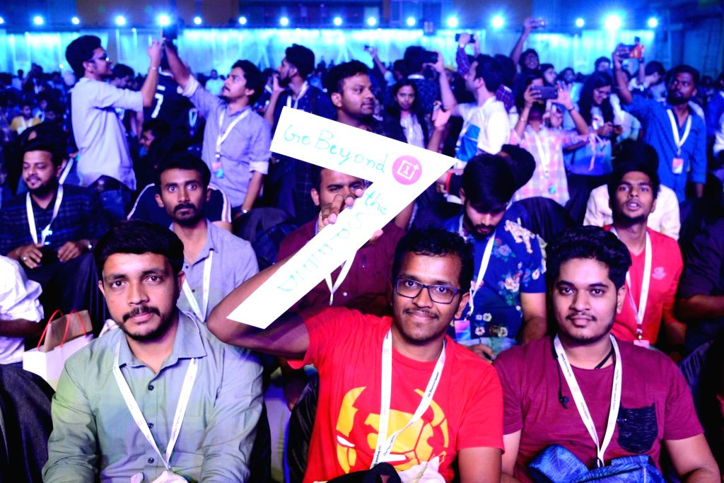 Bengaluru:  Phone enthusiasts at the launch of OnePlus 7 series phone at Bengaluru International Exhibition Centre, in Bengaluru on May 14, 2019. ( Photo: IANS)