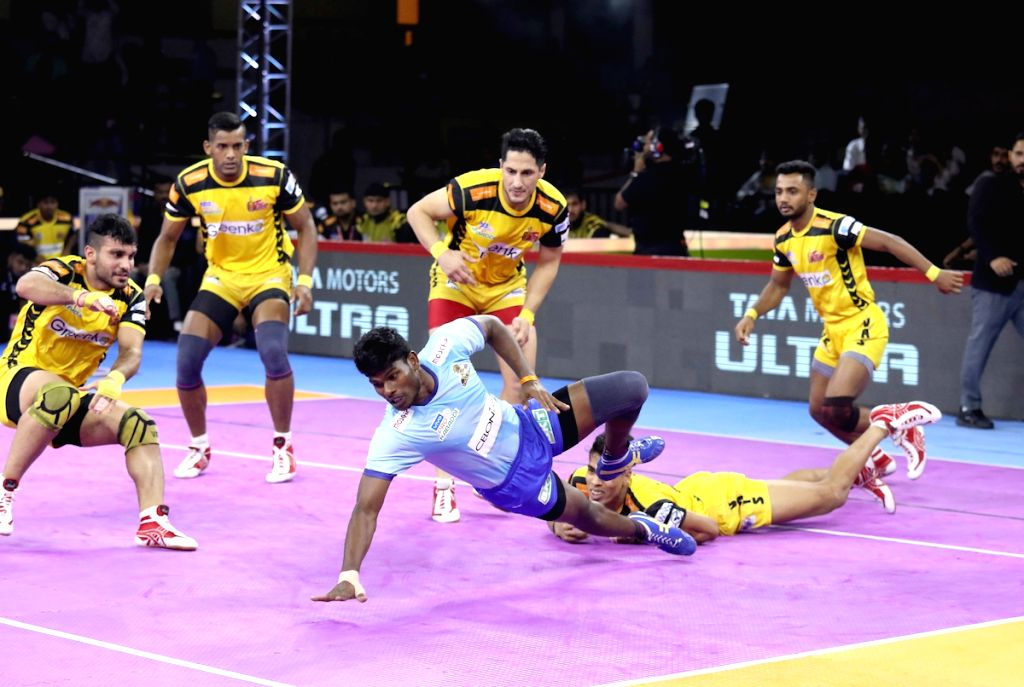 Bengaluru: Players in action during Pro Kabaddi Season 7 match between Telugu Titans and Tamil Thalaivas in Bengaluru on Sep 2, 2019. (Photo: IANS)