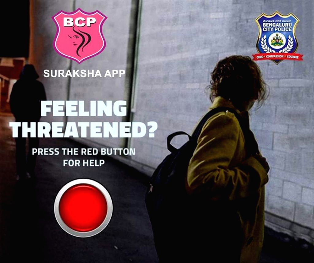 Bengaluru police on Tuesday tweeted a message and illustration, asking women to use the Suraksha app for safety, security and police assistance in case of an emergency.