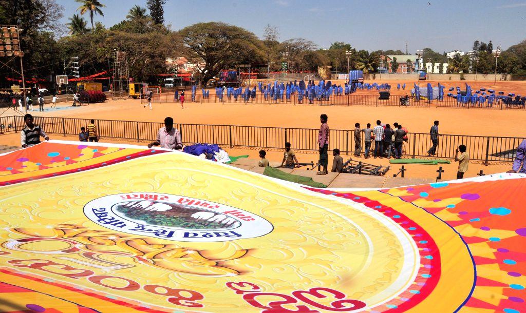 Preparation for Vishwa Hindu Parishad's Virat Hindu Samavesha underway at  National College Grounds, Basavanagudi, in Bengaluru on Feb 7, 2015.