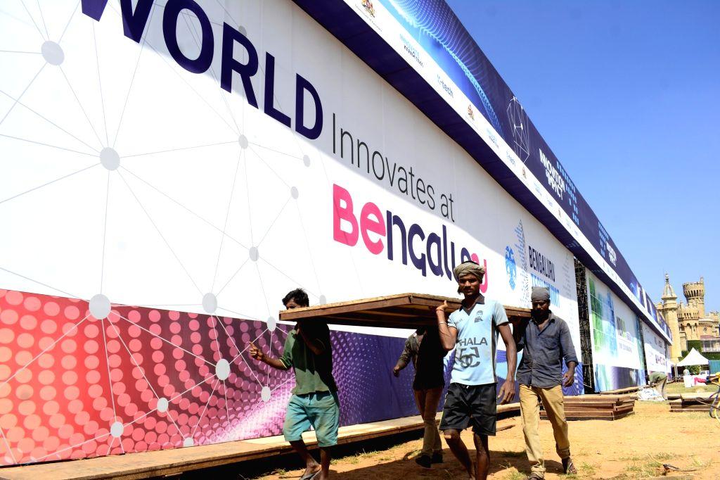 Bengaluru: Preparations for Bengaluru Tech Summit underway at Palace Grounds in Bengaluru on Nov 28, 2018. (Photo: IANS)