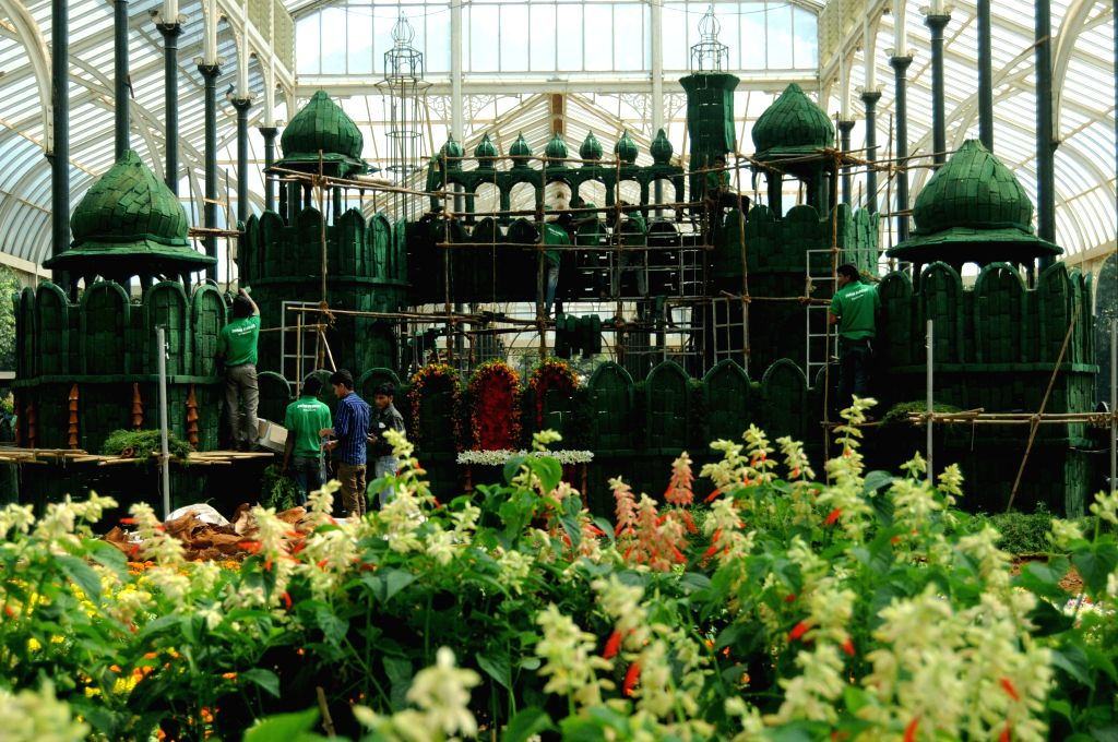 Preparations for upcoming Republic Day Flower Show underway at Lalbagh, in Bengaluru on Jan 14, 2015.