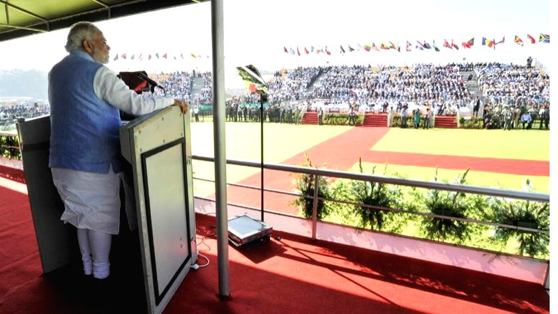 Prime Minister Narendra Modi addresses at the Aero India-2015 Air Show, at Yelahanka Air-force Station, in Bengaluru on Feb 18, 2015. - Narendra Modi