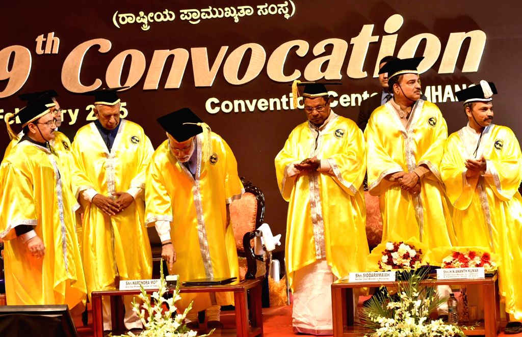 Prime Minister Narendra Modi addresses at the 19th convocation of the National Institute of Mental Health and Neuro Sciences (NIMHANS), in Bengaluru on Feb 18, 2015. - Narendra Modi