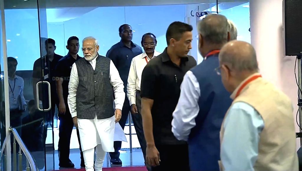 Bengaluru: Prime Minister Narendra Modi arrives at ISRO Centre to witness the landing of India's moon lander Vikram near the moon's south pole in Bengaluru on Sep 7, 2019. (Photo: IANS/ISRO) - Narendra Modi