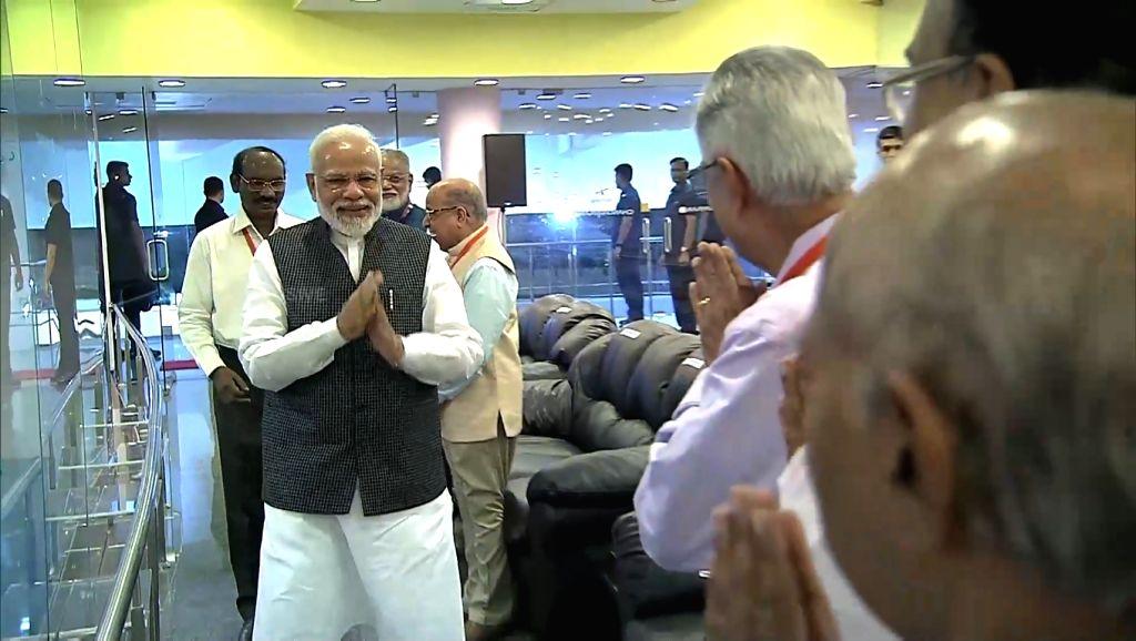 Bengaluru: Prime Minister Narendra Modi arrives at ISRO Centre to witness the landing of India's moon lander Vikram near the moon's south pole in Bengaluru on Sep 6, 2019. (Photo: IANS) - Narendra Modi