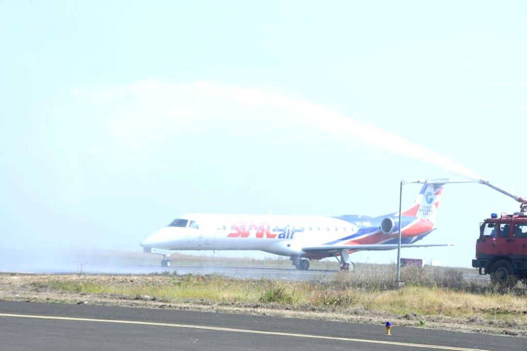 Bengaluru: Private budget carrier Star Air on the runway of the newly inaugurated Kalaburagi Airport in Kalaburagi, Karnataka on Nov 22, 2019. (Photo: IANS)