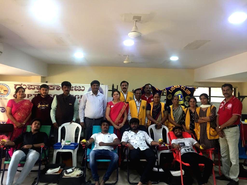Bengaluru: Privately-run Gupta College organised a voluntary blood donation camp to celebrate Valentine's Day in Bengaluru on Feb 14, 2020. (Photo: IANS)